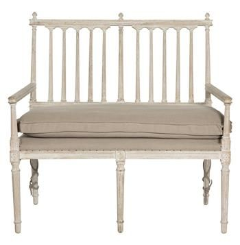 Coyle Shabby French Antique White Settee Dining Bench Loveseat Settee