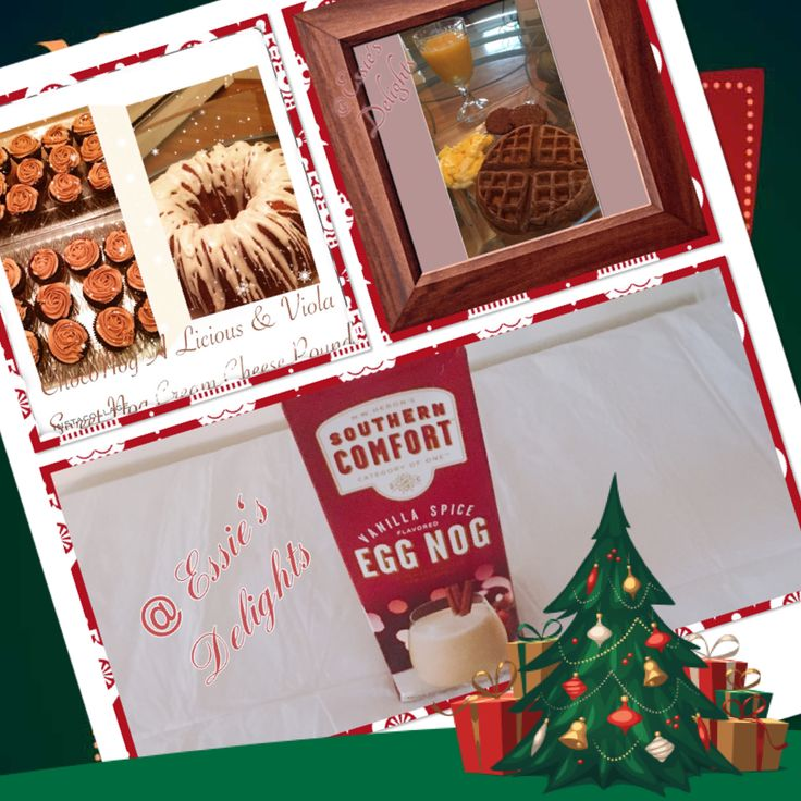 """""""EggNog Time"""" what will I create this year??? Here are the past Delights: ChocoNog Licious Cupcakes, Viola Sweet Nog Cream Cheese Pound &  ChocoMintNog Waffles #cocoa#chocolate#eggnog#peppermint#southerncomfort#waffles#cupcakes#cakes#essiesdelights#baking#bundts#holidayseason#holidays"""