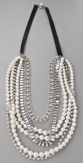 Adia Kibur Ivory Pearl & Crystal Necklace thestylecure.com