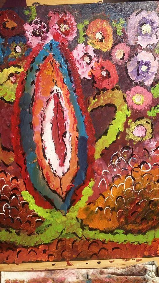 Acrilica/Tela -  Vagina em Flores 80x60