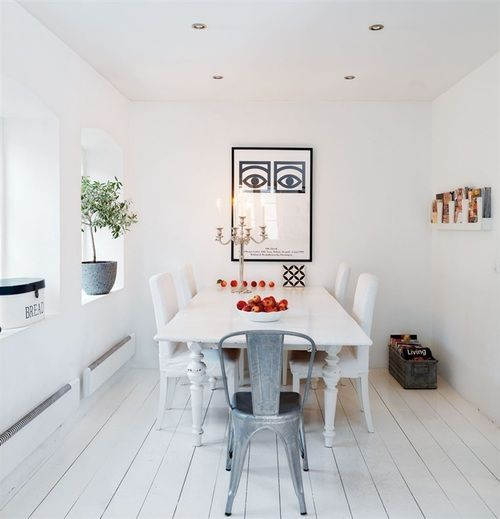 Lovely combination of old and modern.: Oll Seat, Magazines Storage, Floors, Design Interiors, Architecture Interiors, Kitchens Tables, Design Kitchens, Dining Rooms Tables, Posters