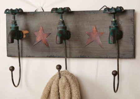 Primitive Country Bathroom Garden Faucet Hooks Towel Rack Holder | eBay