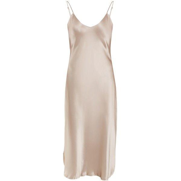 Nili Lotan V-neck raw-hem silk-satin dress (€535) ❤ liked on Polyvore featuring dresses, light pink, pink v neck dress, v neck cocktail dress, v neck dress, holiday dresses and slimming evening dresses
