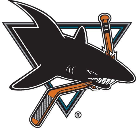 San Jose Sharks Primary Logo (1992) - A black shark inside a triangle chomping a hockey stick
