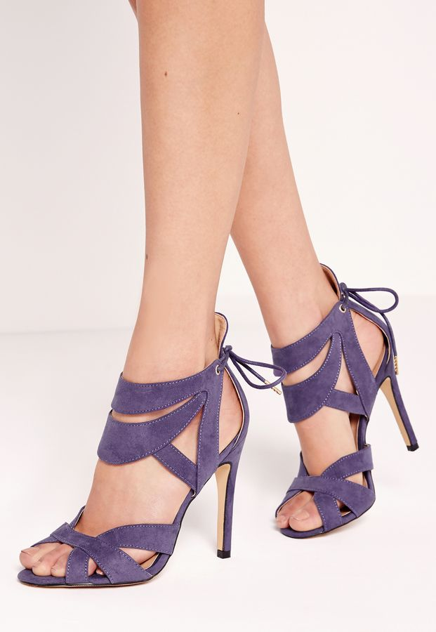 Curved Strappy Heeled Sandal Purple
