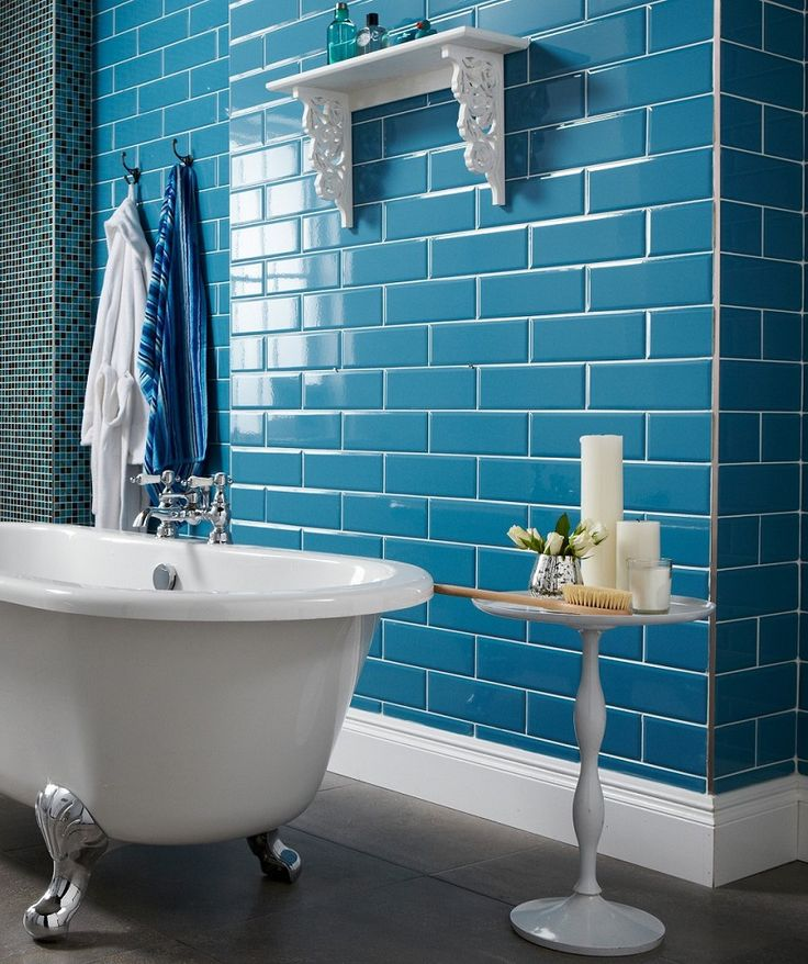 72 best images about bathroom tiles on pinterest mosaic Bright blue tile