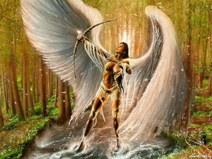 Ange muni d'un arc et d'une flêche...Dans l'art du tir à l'arc Zen c'est la montée de cette énergie et la concentration qui sont importantes, plus que l'envoi de la flèche elle-même qui n'est pas nécessaire. C'est une notion de puissance dominée qui est symbolisée ici. Il ne peut y avoir de puissance que si le guerrier se maîtrise parfaitement. Il ne peut y avoir d'amour si les principes masculin et féminin ne sont pas en accord. L'arc maîtrisé représente à ce titre l'être qui gouverne au…