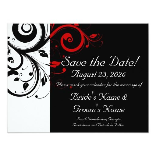 221 best black red wedding invitations images on pinterest | black, Wedding invitations