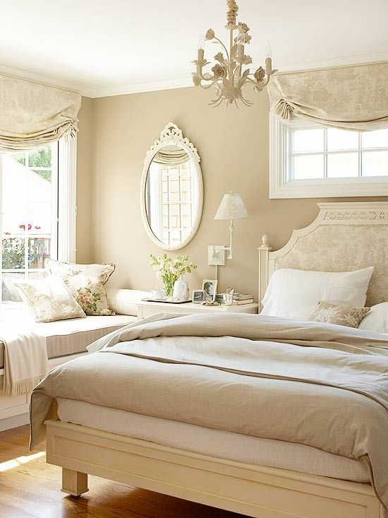 Neutral Oasis Fantasy. I know it would be so easy for me to snuggle under the covers till the morning time in this bed. Or maybe have a pot of hot tea and curl up by the window to read my favorite book until I get sleepy.