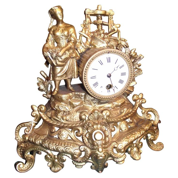 19th Century French Clock with Woman and Wine Press | From a unique collection of antique and modern clocks at https://www.1stdibs.com/furniture/decorative-objects/clocks/