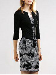 Belted Firework Print Sheath Dress - BLACK