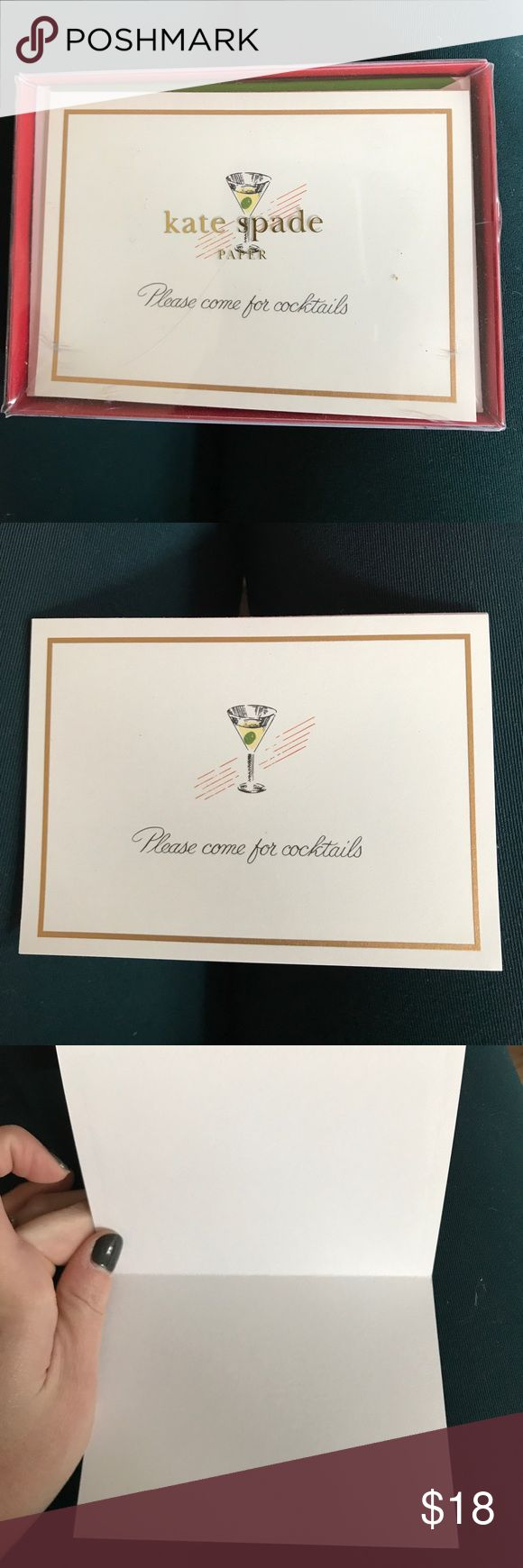 """Kate Spade invites Brand new with tags Kate Spade invites with """"please come for cocktails"""" front and a green lined envelope.  10 cards and 10 envelopes with each pack. kate spade Other"""