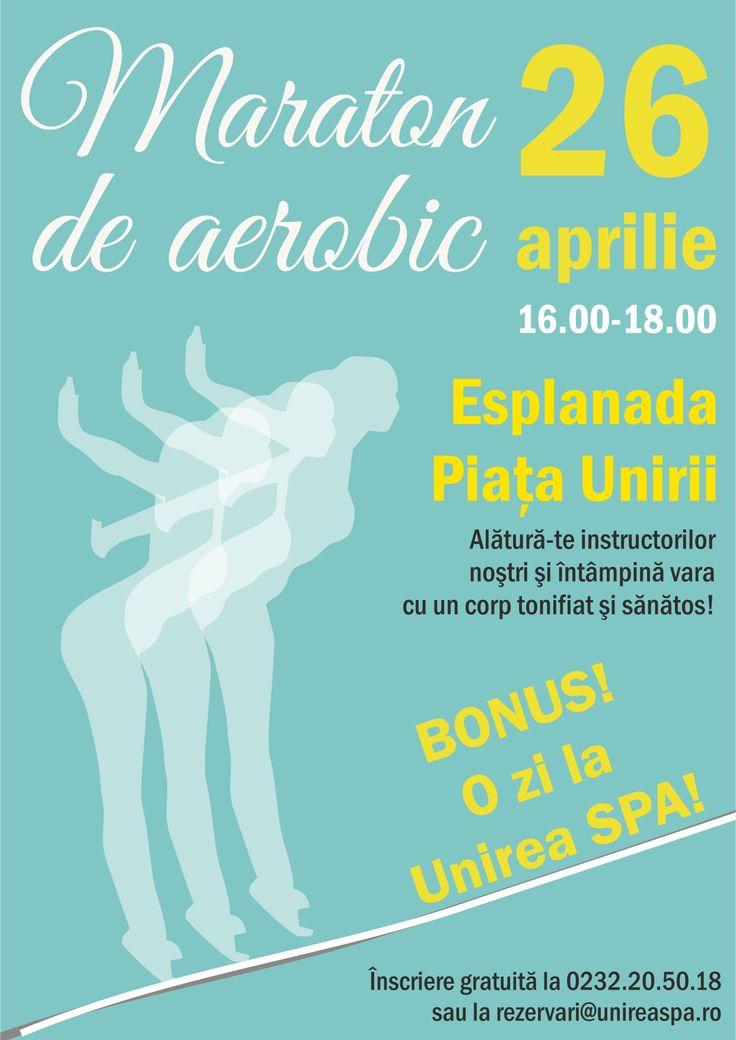 Pe 26 aprilie, începând cu ora 16.00, vă invităm la MARATONUL DE AEROBIC! Alătură-te instructorilor noștri și întâmpină vara cu un corp tonifiat.