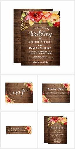 Rustic Wood Autumn Leaves Floral Invitation Suite #weddinginvitations  #rusticweddinginvitations  #countryweddinginvitations A Rustic Wood Autumn Leaves Floral Invitation Suite, with items from invitations to RSVP card, Thank You Card, Address Label, Guestbook and more.