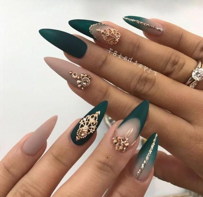 33 Cutest And Trendy Green Acrylic Nails And Green Matte Nails Design For Prom And Party Nail A Green Acrylic Nails Matte Nails Design Stiletto Nails Designs