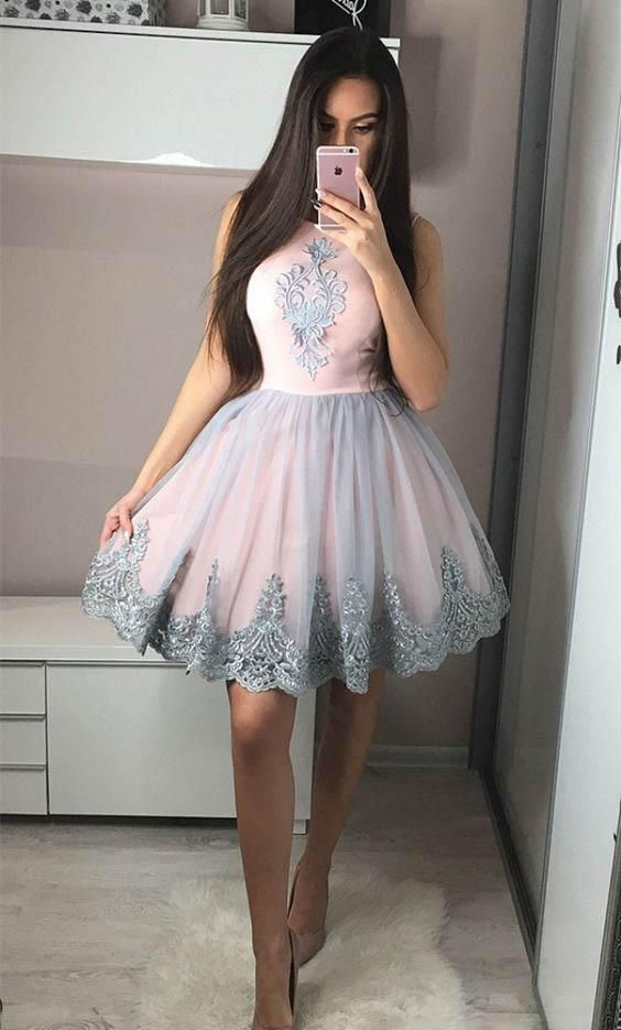 Lovely Unique Applique Tulle Inexpensive Short Homecoming Dresses, LD101
