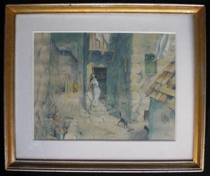 Antikes Aquarellbild des XIX Jahrhunderts