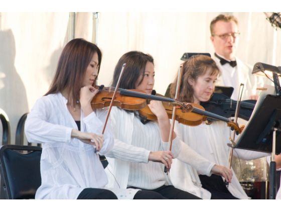 Violinists with the Pacific Symphony tune their instruments before performing works from the likes of Georges Bizet, Pyotr Tchaikovsky and John Phillip Sousa during the 8th annual Target Symphony in Mission Viejo.  JOSEPH ESPIRITU, FOR THE ORANGE COUNTY REGISTER