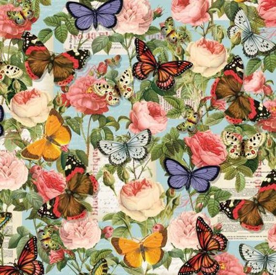100/% Cotton Fabric Rose Floral Butterfly Butterflies Flowers Roses