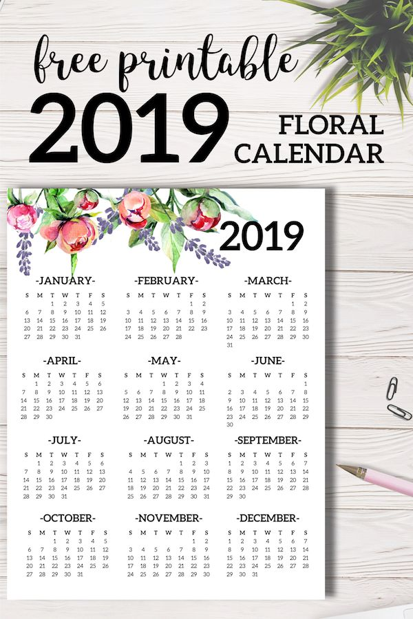 Free Printable 2019 Calendar Yearly One Page Floral Printables