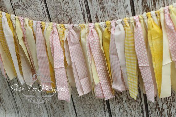 Yellow Pink White Fabric Strip Banner / Rag Tie Garland, Photography Banner, Bridal / Baby Shower / Wedding Banner, Fabric Decor