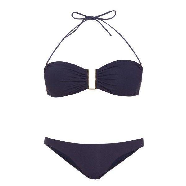Melissa Odabash Barcelona bandeau bikini ($220) ❤ liked on Polyvore featuring swimwear, bikinis, navy, bandeau swimwear, navy bandeau bikini, bikini swimwear, bandeau tops and bikini two piece
