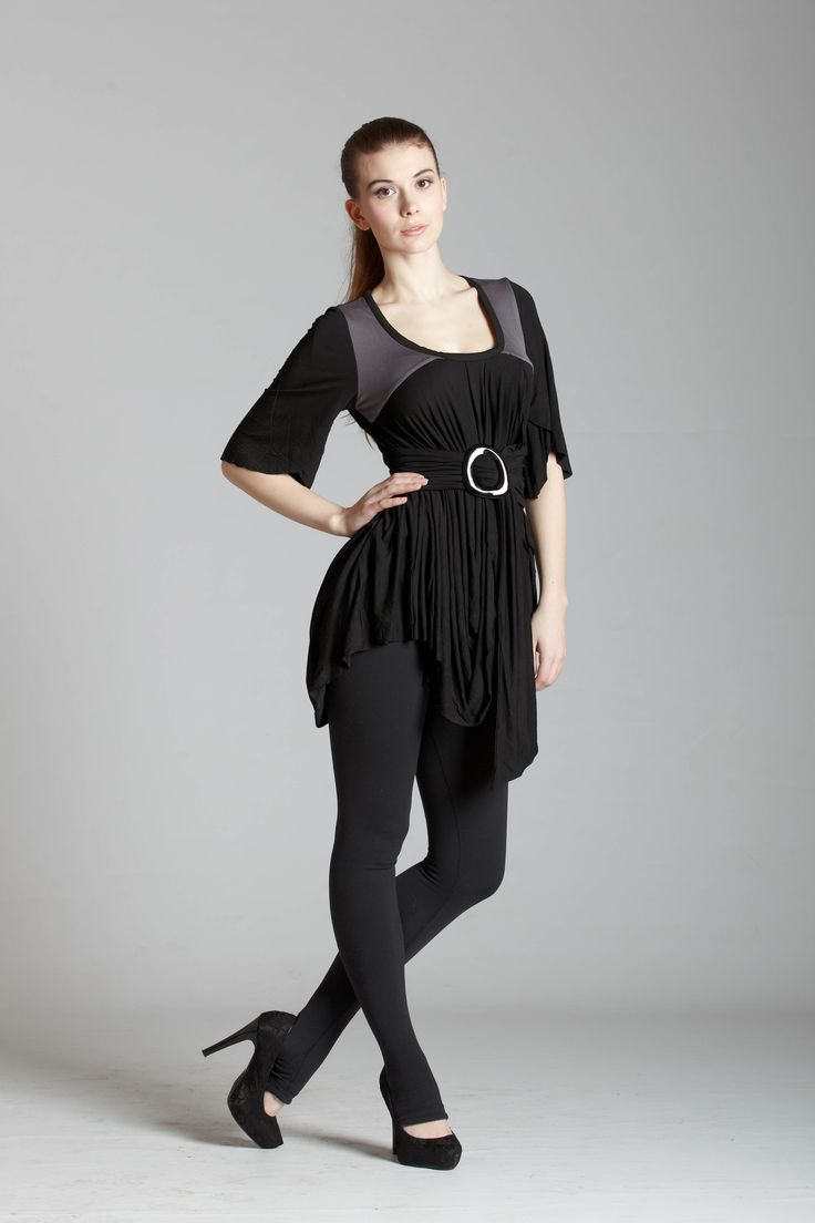 black and grey bell sleeve belted tunic