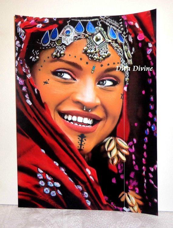 peinture pastel sec pour tableau boh me orientale portrait zohra peint a la main pastel. Black Bedroom Furniture Sets. Home Design Ideas