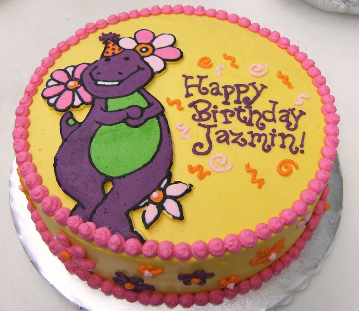 "Barney cake - 10"" buttercream frosted cake with frozen buttercream transfer"