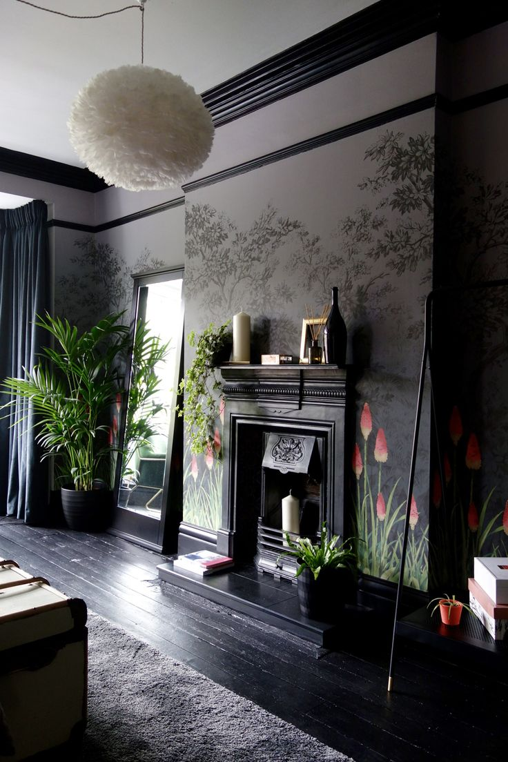 Little greene wallpaper dark grey black paintwork and coral highlights