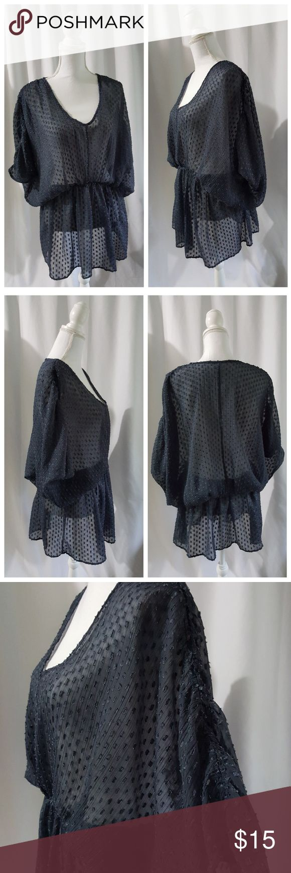 FREE PEOPLE Gray Loose Fit Boho BLOUSE Textured polka dot. Sheer. Blouson.  Rouched batwing sleeve. Boho.  by Free People size XS  Excellent Pre-Loved Condition! Free People Tops
