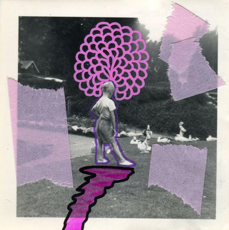 Collage Su Foto Vintage Di Bambino Che Gioca All'aperto Decorata A Mano