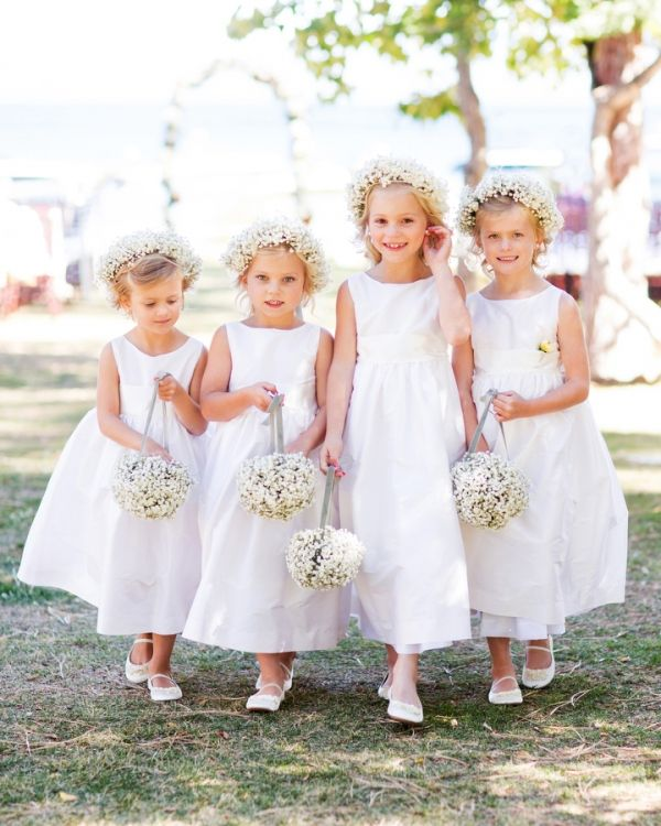precious flower girls with baby's breath flower girl baskets