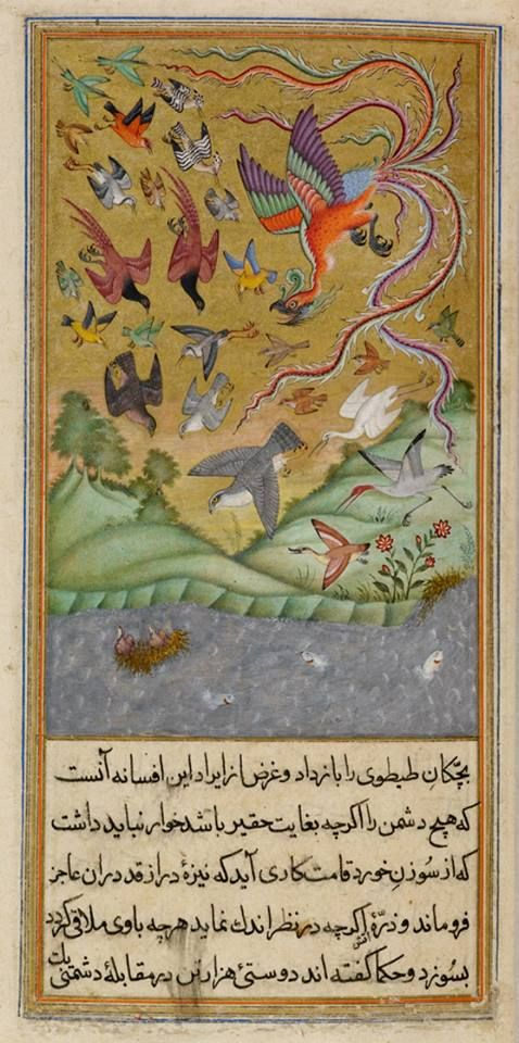 """Sandpipers on their nest while the simurgh leads an army of birds to their rescue. From Anvar-I Suhayli, a version of Kalila va Dimna fable, India, 1610-11. -- From Celia Fisher's book """"The Magic of Birds"""", 2014."""