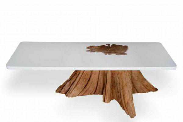 echtholztisch aus Baumstamm