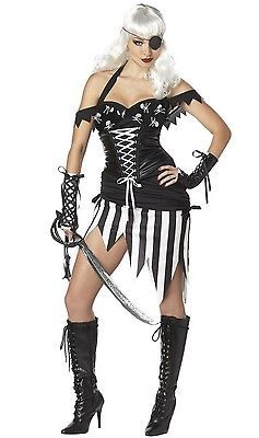 Womens Sexy Pirate Costume L 10 12 Adult Halloween Black White Corseted Dress | eBay