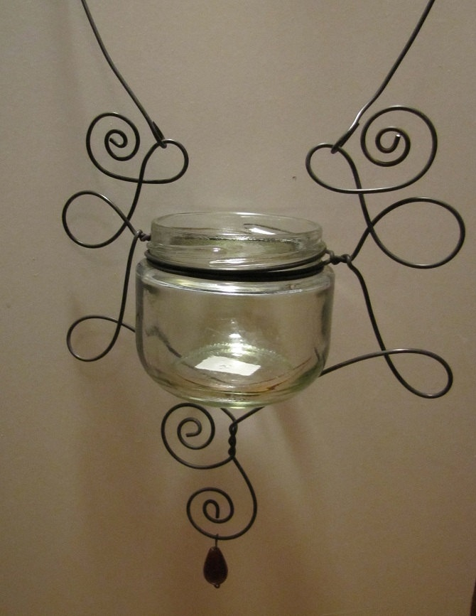Hanging Wire Wrapped Glass Jar.