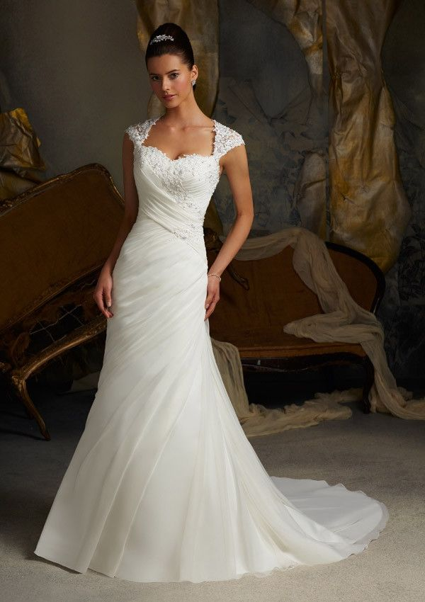 Blu by Mori Lee 5103 Cap Sleeve Lace Fit and Flare Wedding Dress