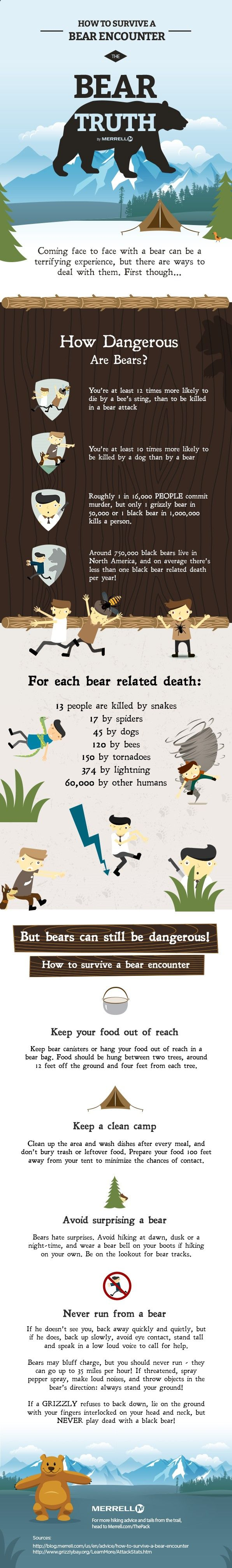 Bear attacks are rare, but how do you make sure you dont end up as a statistic? This Merrell inforgraphic will tell you everything you need to know...