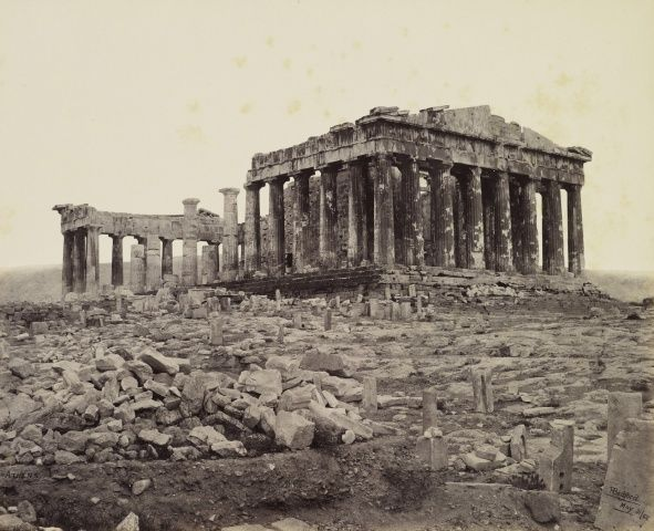 South West View of the Parthenon [on the Acropolis, Athens, Greece]  31 May 1862.  Francis Bedford (1815-94). Acquired by the Prince of Wales, 1862.
