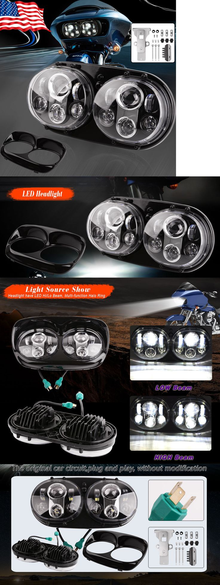motorcycle parts: 90W Motorcycle Hi Lo Beam Dual Led Headlight For Harley Davidson Road Glide -> BUY IT NOW ONLY: $144.99 on eBay!