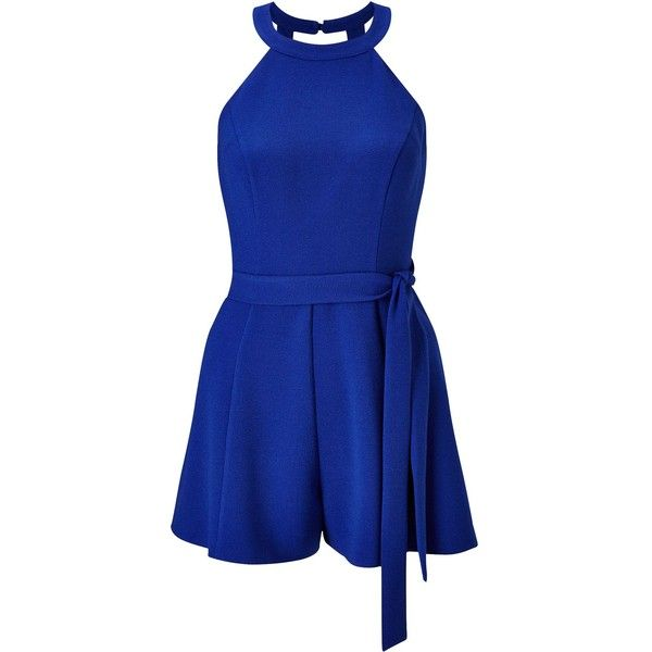 Miss Selfridge Petites Blue 90`S Playsuit ($47) ❤ liked on Polyvore featuring…