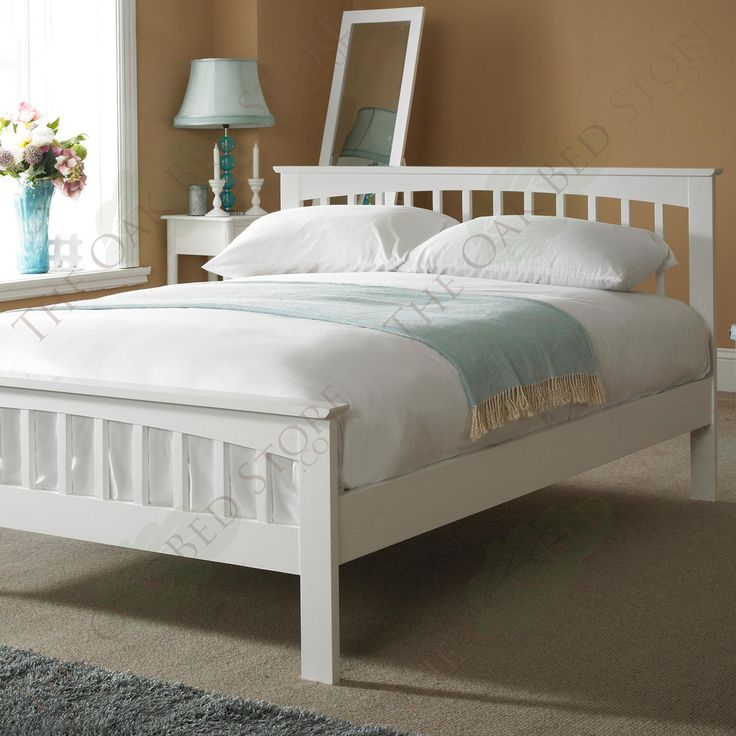 Heywood White Solid Wood Bed Frame 5ft King Size In 2019