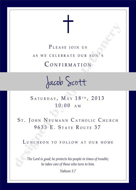 Confirmation Invitation or Announcment Boy Navy and Charcoal, made especially for your sons reception of this special sacrament. All cards are