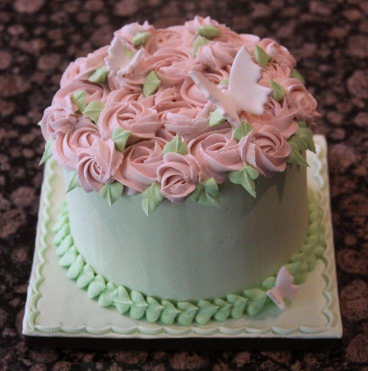 Butterfly Garden Theme Smash Cake - All buttercream (except butterflies),