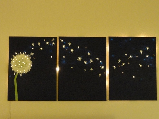 glowing picture...paint canvas, poke holes in canvas and put twinkle lights behind it