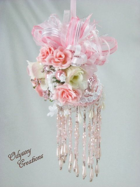 Beaded Victorian Ornaments | Pink Princess Beaded Victorian Ornament with Swarovski for Wedding ...