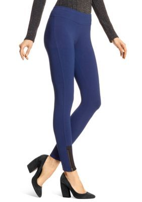 Hue Women's Leatherette Trim Zippered Cotton Leggings - Skyfall - Xl