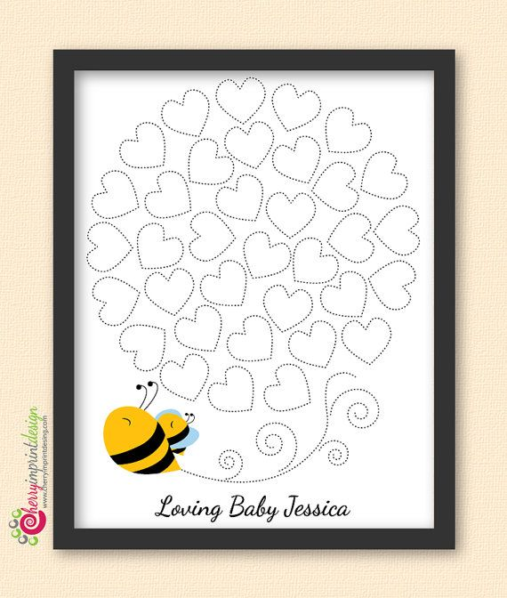Adorable mother and baby bumble bee baby shower guest book--a great keepsake to replace the traditional guest book.