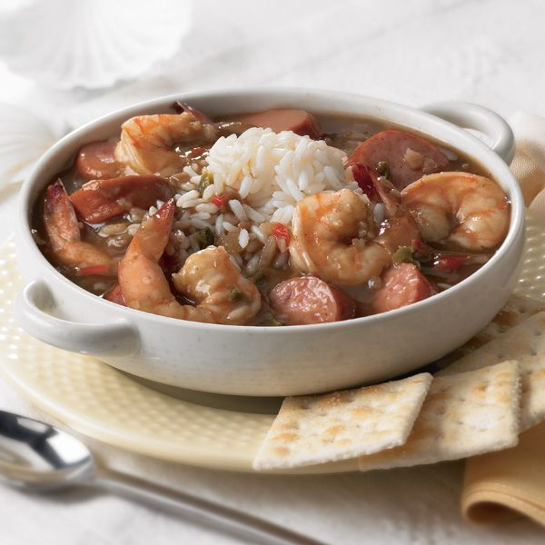 CREOLE GUMBO from Zatarains.Com: ~ Like a traditional gumbo, this recipe is cooked without rice. Instead, prepare some Long Grain Parboiled Rice and pour your gumbo over it for a full creole meal. ~ Makes 8 (1-cup) servings. Prep Time: 10 minutes Cook Time: 1 hour